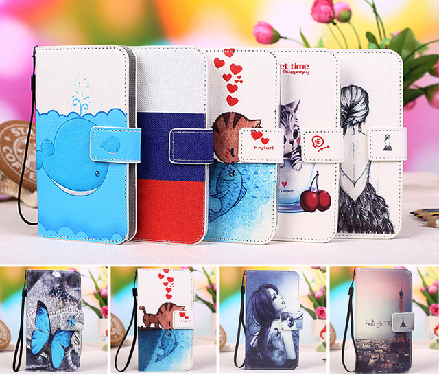 "12 colors Cartoon Printing Flip PU Leather Phone Wallet Case For Philips W536 4"" Mobile Phone case cover +Tracking"