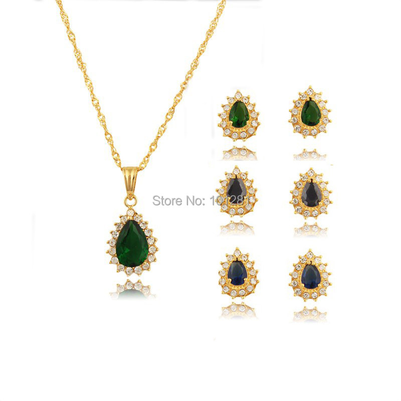 372052e5196e Vintage set nuevo 2015 oro platedd Corea multicolor redondo africano traje  COLLAR COLGANTE de cristal
