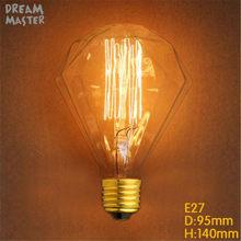 220V 240V G95 Diamond Edison Bulb E27 Edisons Lamp Retro Edison Bulbs 40w home decor lamp bulbs For Pendant Lamps chandelier