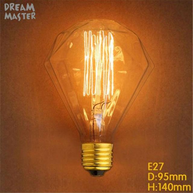US $5 99 |220V 240V G95 Diamond Edison Bulb E27 Edisons Lamp Retro Edison  Bulbs 40w home decor lamp bulbs For Pendant Lamps chandelier-in  Incandescent