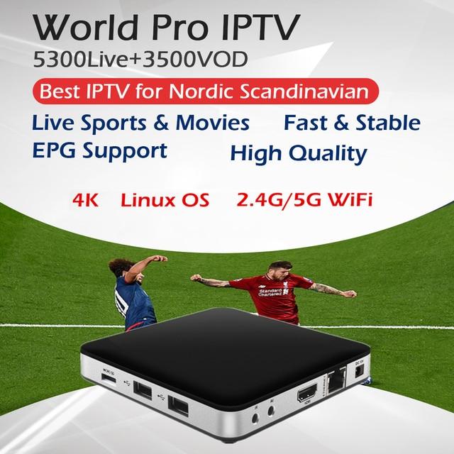 Tvip 605 + le meilleur scandinavie Iptv double OS Android & Linux Amlogic S905X 2.0 Ghz 2.4G/5G WiFi 4 K 1080 nordique suède norvège Iptv Box