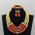 Trendy African Crystal Beads Jewelry Sets Nigerian Wedding Jewelry Sets New Gold Parts Add Red Balls Bridal Jewelry Sets ANJ078