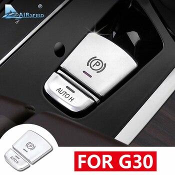 Airspeed 2 sztuk ABS dla BMW G30 akcesoria BMW G30 naklejka na BMW G30 wykończenia wnętrza samochodów hamulec postojowy przycisk dekoracyjne pokrywa