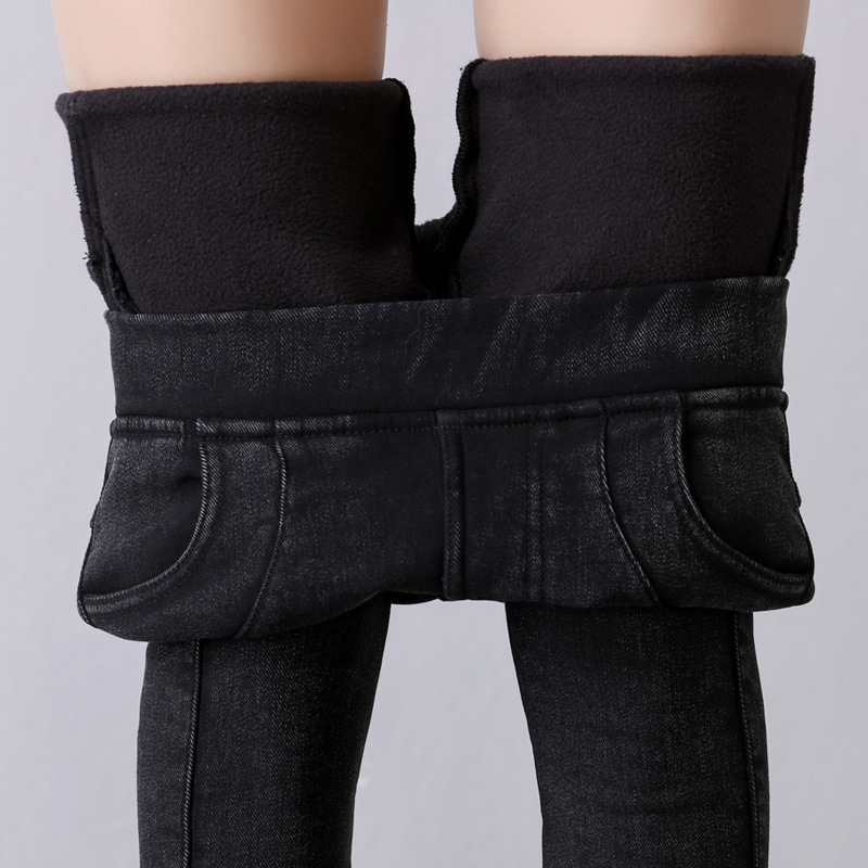 Winter large size plus velvet imitation jeans female fat MM high waist trousers warm feet pencil pants A11#