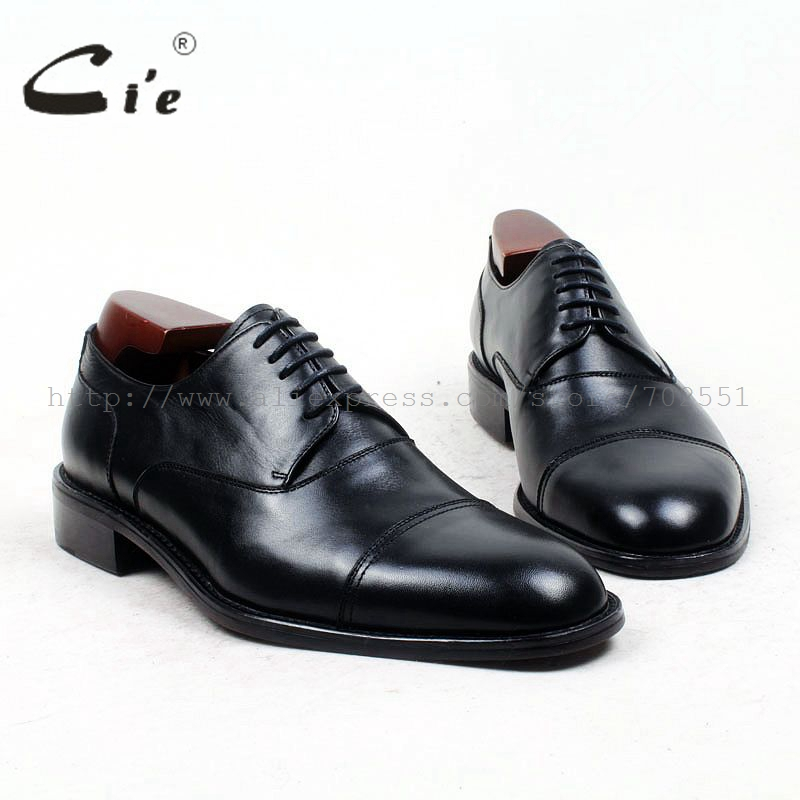 cie Free Shipping Bespoke Custom Handmade U-tip Genuine Calf Leather with Genuine Leather Outsole Derby Color Brown Shoe No.D27 cie free shipping mackay craft bespoke handmade pure genuine calf leather outsole men s dress classic derby dark gray shoe d47
