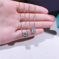 Simple s925 solid silver H necklace set with rhinestone personality joker letter clavicle chain jewelry female