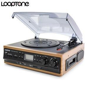 Image 2 - LoopTone 3 מהירות Bluetooth פטיפון ויניל שיא נגן מובנה רמקולים גרמופון AM/FM רדיו קלטת LP USB/ SD מקליט