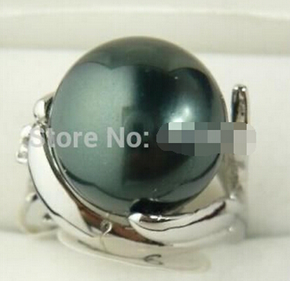 Hot sell Elegant 12MM Black South Shell Pearl Women's Ring 6-9 >Bridal jewelry free shipping