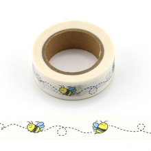1 roll Cute Decorative bees Washi Tape DIY Scrapbooking Masking animal Tape School Office Supply 2j202 1 5cm wide the puzzle world decorative washi tape diy scrapbooking masking tape school office supply escolar papelaria