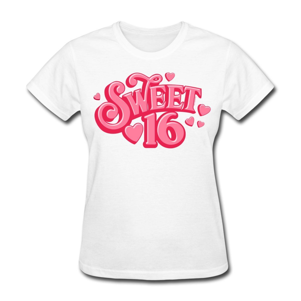 Design your own t-shirt hot pink - Hot Sell Women S Tees Summer Design Birthday Sweet Sixteen Hearts Crew Neck Short Sleeve Womens T Shirts Make Your Own Shirt