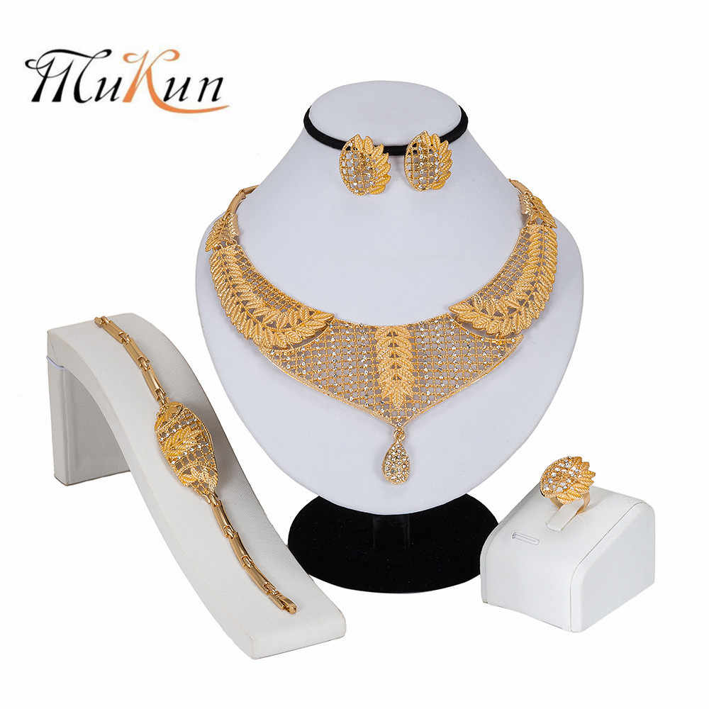 MUKUN2019 NEW wedding Fashion Bridesmaid Jewelry Sets For Women Crystal Jewelry Set Wedding Nigerian Beads Necklace Jewelry Set