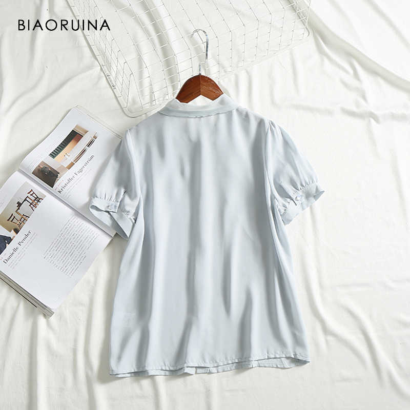 BIAORUINA נשים של שיפון לנשימה מגניב מתוק חולצה קצר שרוול קשת צווארון נשי מזדמן Comfortab; e כל התאמה חולצה חולצות
