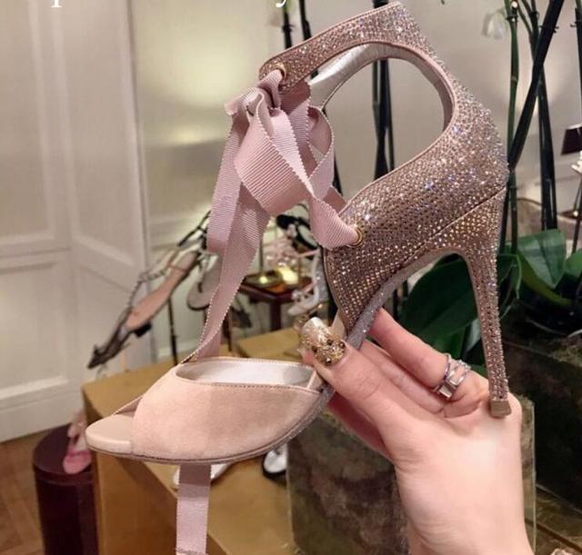 Elegant Pink Crystal Embellished Lace-up Sandals Peep Toe Cut-out Gladiator  Tie-up Sandals High Heels Women Summer Dress Shoes 6164c12043ad