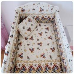 Promozione!  6 pz orso culla crib bedding set ricamato (bumpers + partiture + cuscino)