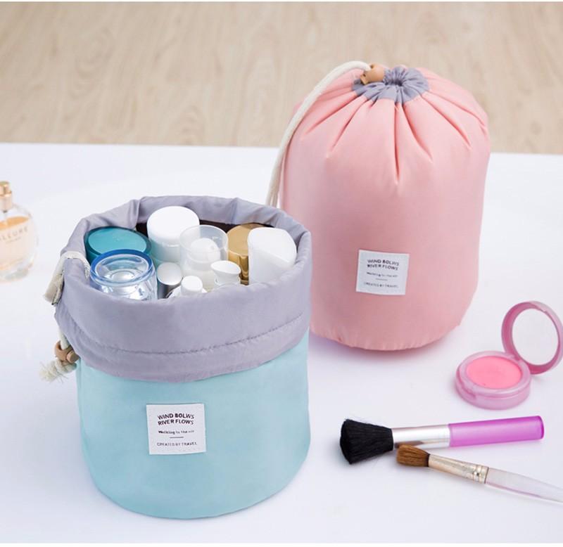 Maras Dream Barrel Shaped Travel Cosmetic Bag Nylon High Capacity Drawstring Elegant Drum Wash Bags Makeup Organizer Storage Bag 6