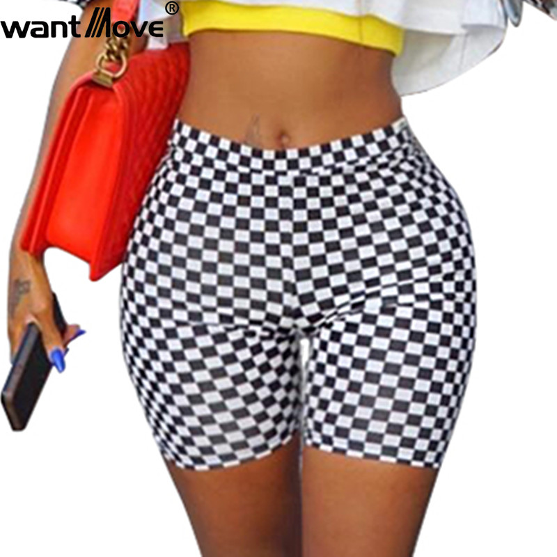 Wantmove women black&white patchwork high elastic waist   shorts   casual 2018 new fashion summer plus size wear   short     shorts   XD71