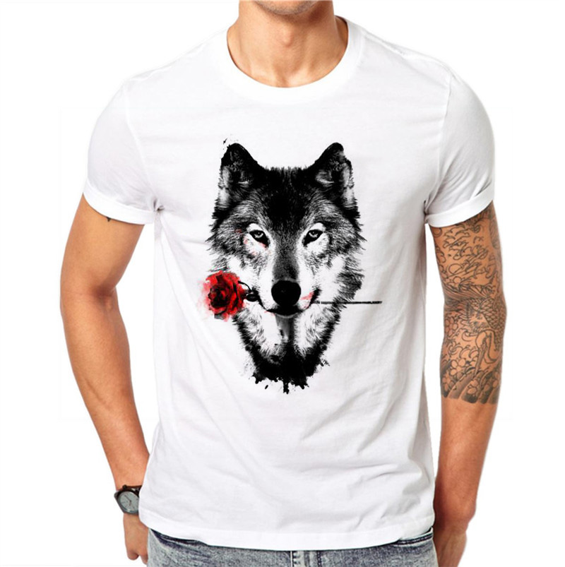 100% Cotton 3D Wolf Rose   T     Shirt   Men Summer Funny Wolf Man's   T  -  shirt   Casual White Hip Hop Animals   Shirt   Plus Size 4XL