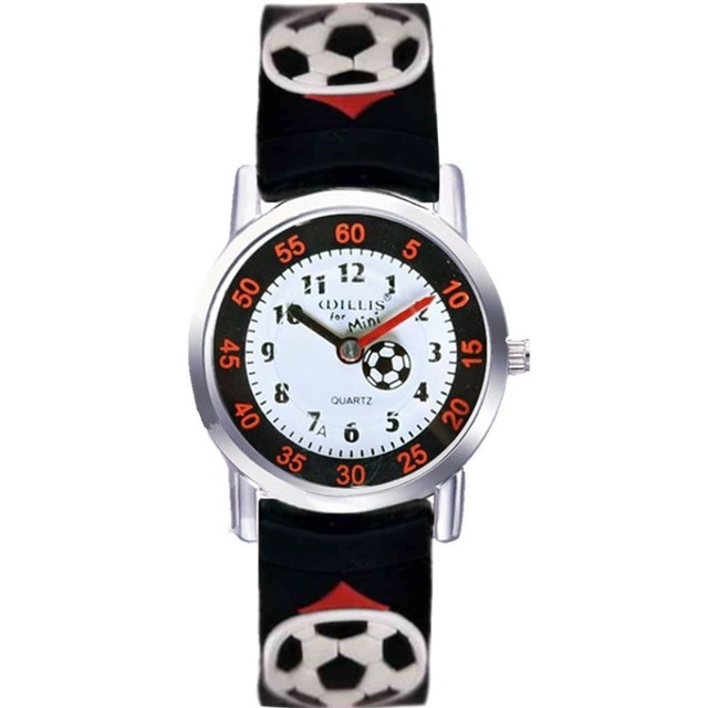 Willis 3D Football Clock Rubber Strap Quartz Watch Luxury Brand Waterproof Child