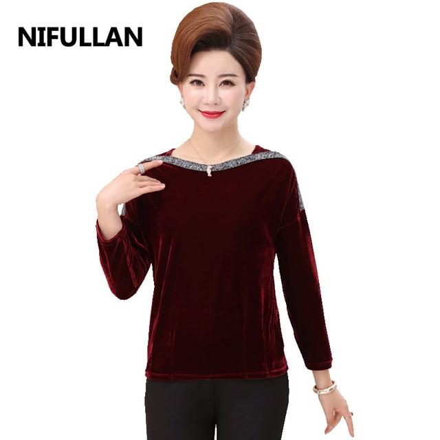 e38eba11431bae NIFULLAN Velvet Tops Women Elegant Long Sleeve T Shirt Femme Plus Size  Casual Tee Shirt Mother Clothing Pullover Slash Neck Tee