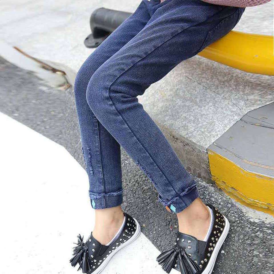 Moda Sonbahar Kış çocuk Pantolon Kız Kot 2 Renk Denim Bebek Kız Kot Büyük Çocuk Kız Rahat Kot pantolon uzun Pantolon