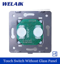WELAIK  Switch White Wall Switch EU Touch Switch DIY Parts Screen Wall Light Switch 2gang2way AC110~250V A922