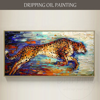 Artist Hand-painted High Quality Cats Leopard Oil Painting for Wall Decor Hand-painted Agile Animal Leopard Oil Painting