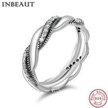 INBEAUT Hot Sell 925 Sterling Silver Twist Love Wedding Statement Ring for Teen Girls Trendy Jewelry Female Luxury  Finger Ring