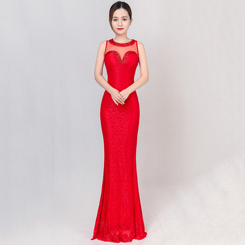 Red Floral Lace & Transparent Mesh Diamonds Beads Sleeveless Sexy Elegant Long Gowns Par ...