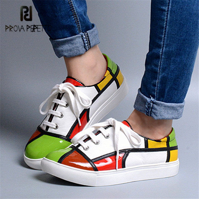 Prova Perfetto Patchwork Women Sneakers Lace Up Flats Canvas Shoes Tenis Feminino Comfortable Platform Loafers Ladies Shoes цена