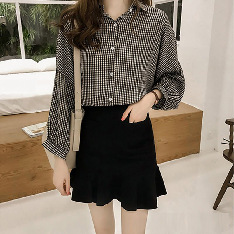 Plus Size Casual Loose Blouse OL Women Long Sleeve Women Tops And Blouses Fashion Striped Plaid Female Shirt Women Blusas 4XL