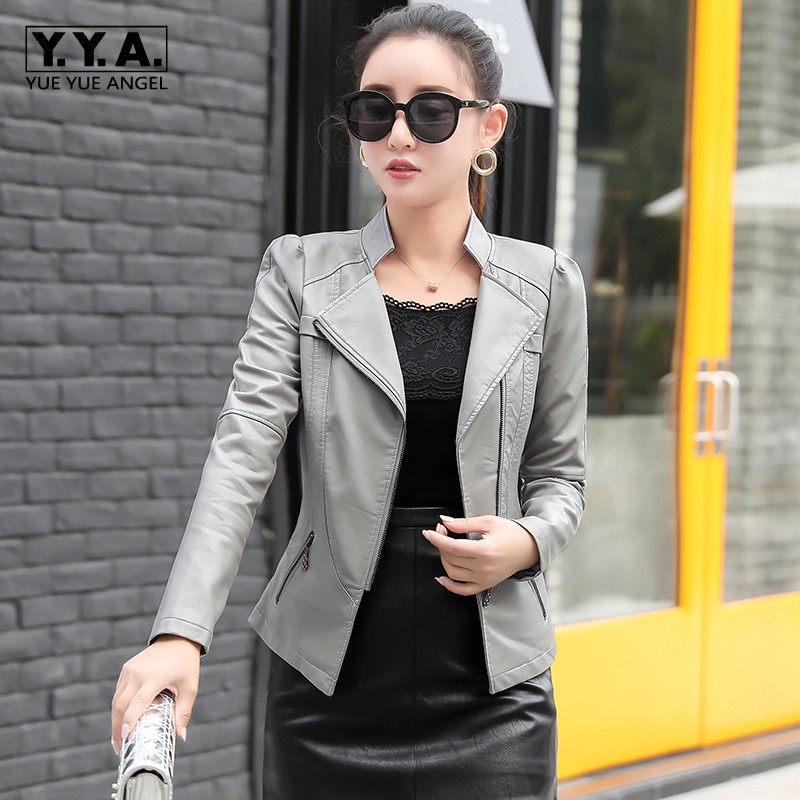 2019 New Winter Womens Outerwear Fashion Solid PU   Leather   Short Jacket Female Streetwear Slim Fit Biker Jacket Plus Size 6XL