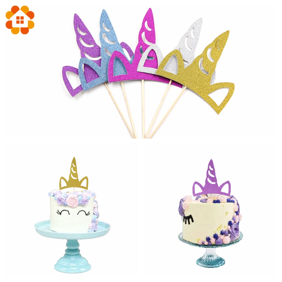 5PCS Glitter Unicorn Cake Topper DIY Cake Topper Picks Happy Birthday Party Cake Toppers Wedding Decoration Baby Shower Supplies