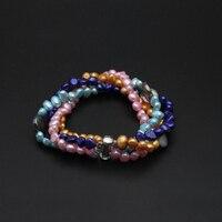 Красивый натуральный многослойный браслет из пресноводного жемчуга, двойной браслет в богемном стиле, жемчужные пряди для девочек, модный подарок на день рождения