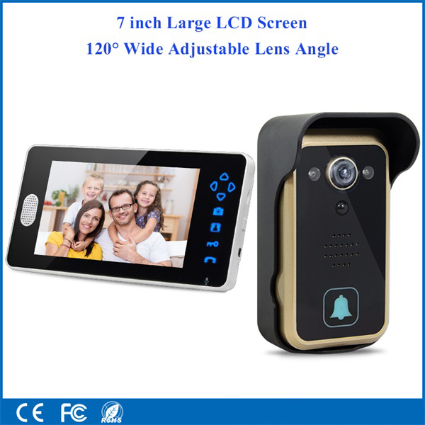 2.4GHz 7inch Wireless Video Doorbell Intercom with Adjustable Camera Lens ...