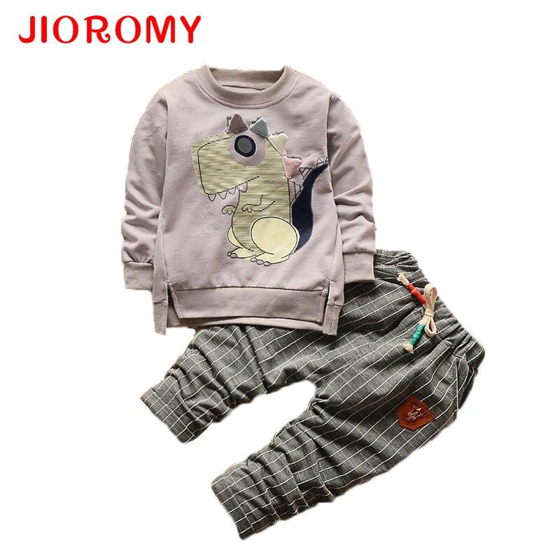 купить JIOROMY 2017 Baby Boys Girls Clothing Suit T-shirt 2pcs / Set Cartoon Dinosaur Autumn Fashion Long-sleeved Plaid Pants 1-5y Kids дешево