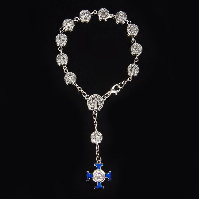 Bright Jesus Cross Bracelet Vintage Golden&silver Jesus Jewelry Rosary Centerpiece Sacred Mercy Saint Icons Religious Beaded Bracelet Outstanding Features