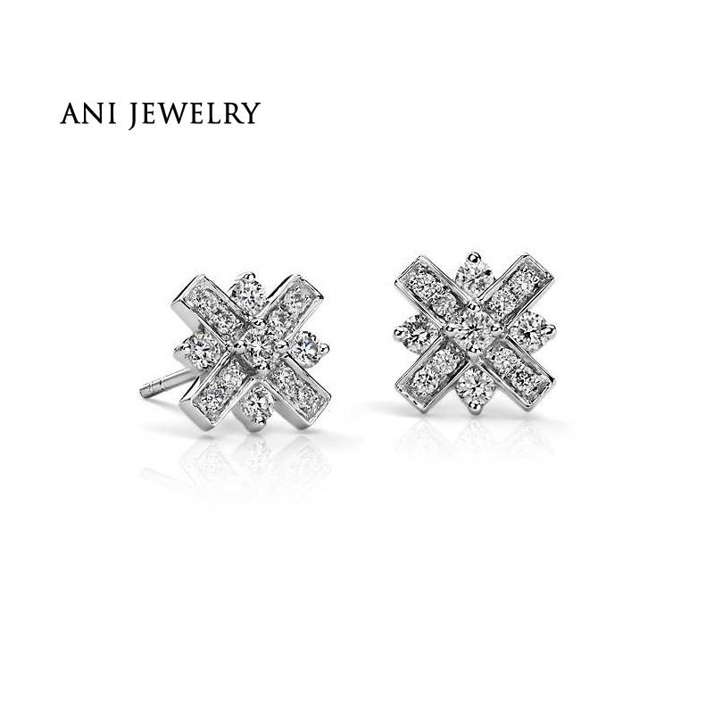 ANI 18K White Gold (AU750) Women Stud Earrings 0.44 CT Certified I-J/SI Natural Diamond Jewelry Engagement boucle d oreille серьги кольца fashion in 40 d oreille brincos argola pequeno 40er 1