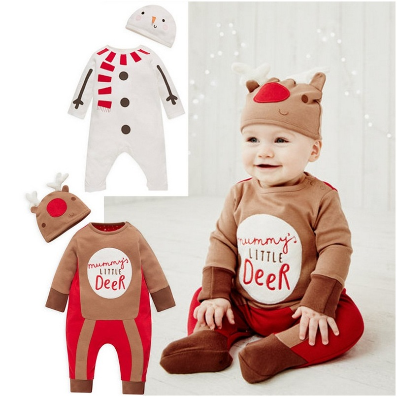 2018 Christmas Baby Rompers Costume Kids Newborn Boy Girl Cotton Long Sleeve Spring Children Infant Clothing Set Top+Hat A308