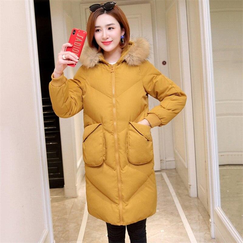 Women Medium Long Cotton Jacket Large Fur Collar New Down Cotton Parkas Large Size Loose Winter Solid Color Female Coats TTT172