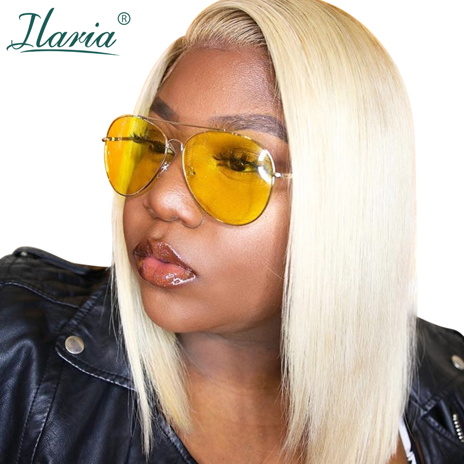 HTB1OZeVXsfrK1Rjy1Xdq6yemFXaV Blonde Lace Front Human Hair Wigs For Black Women Pre Plucked Short Bob Wig Dark Roots 1B 613 Human Wig With Baby Hair Ilaria