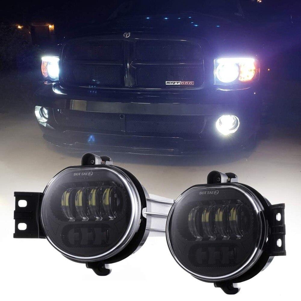 LED Fog Light For Dodge Ram 1500 2002-2008 Dodge Ram 2500/3500 Pickup Truck 2003 2004 2005 2006 2007 2008 2009-1 Pair Black