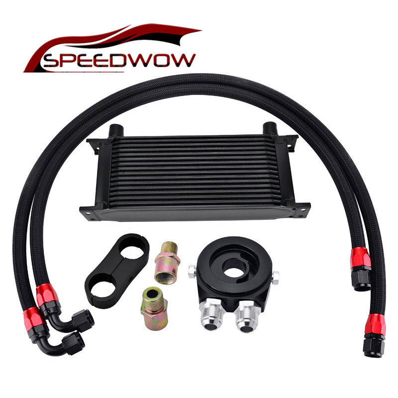 SPEEDWOW 16 ROW 10AN Transmission Adaptor Oil Cooler+Oil Filter Cooler Sandwich Adapter+Swivel Hose Fitting+ AN10 Divider Clamp