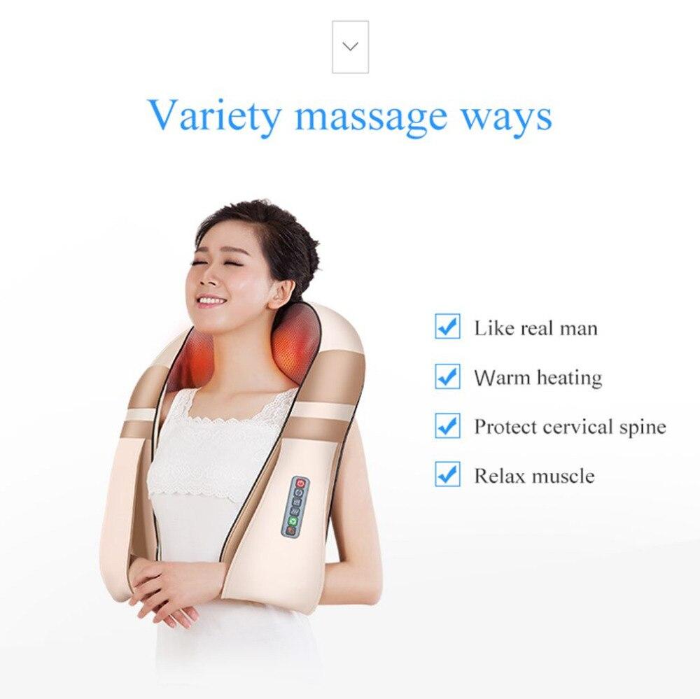 JinKaiRui forma eléctrica Shiatsu cuello espalda hombro masajeador de cuerpo Spa infrarrojos 4D amasar Massagem coche a casa de doble uso Masaje - 3
