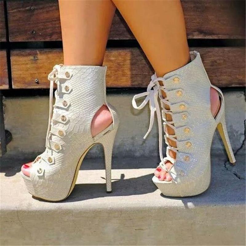 Summer White Lace Up Gladiator Sandals Women Peep Toe Cut-out Platform Sandalias Lady Super High Heels Party Dress Shoes WomenSummer White Lace Up Gladiator Sandals Women Peep Toe Cut-out Platform Sandalias Lady Super High Heels Party Dress Shoes Women