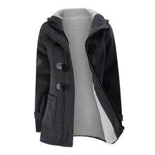 Женские Модный плащ осень толстая подкладка зимняя куртка пальто женские повседневные длинные пальто с капюшоном на молнии с роговыми пуговицами верхняя одежда