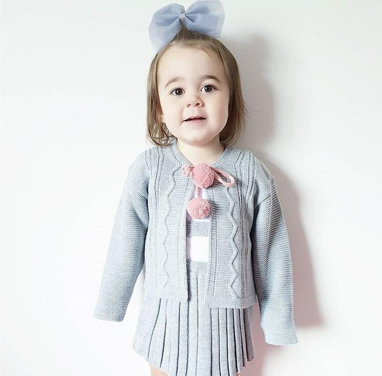 Cute Baby Girl Clothes Warm Autumn Winter Cardigan Sweater Coat+Knitted Suspender Skirt 2PCS Party Suit Girls Outerwear SET561 school girls brand cardigan clothes sets knitted sweater wave skirt 2pcs winter autumn warm children clothing kids outfits w75
