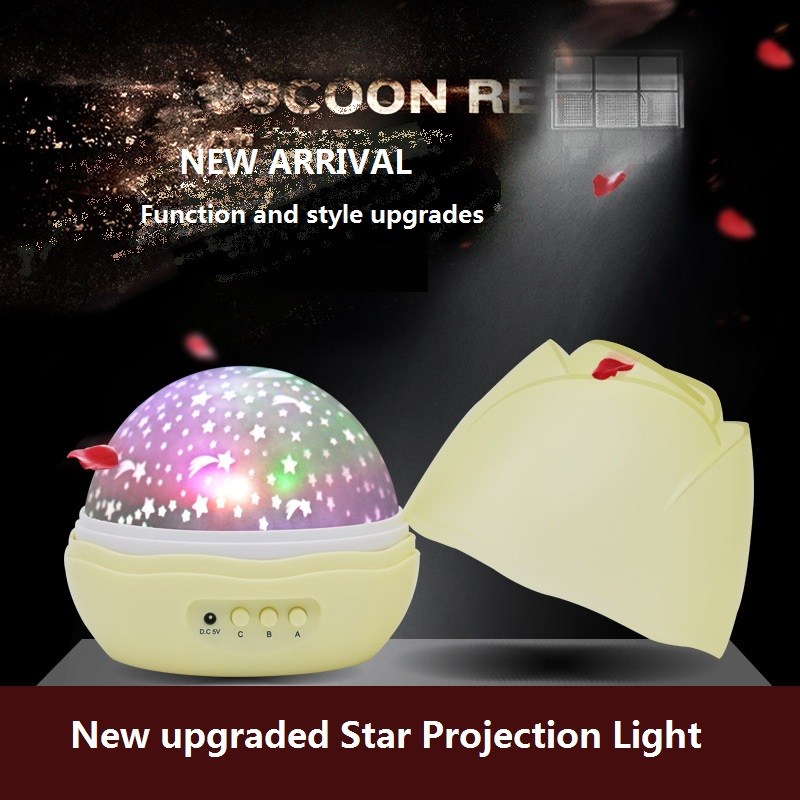 Upgraded Star and LED Projector Moon Nightlight Battery USB Bedroom Party Gift for Children