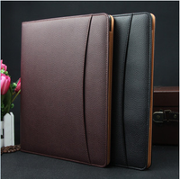 Hot Sales Brown Black Blue Multifunctional PU Leather File Folder Documents Case A4 Documents Notepad Holder