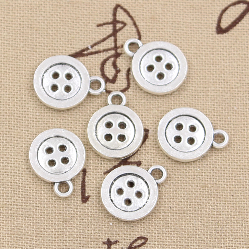 10pcs Charms Double Sided Button 16x13mm Antique Pendant Fit,Vintage Tibetan Silver Bronze,DIY Handmade Jewelry