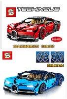 Гоночный автомобиль строительные блоки кирпичи Совместимость с красные, синие Bugattily Chironed техника серии обучения детей игрушки SY7950 SY7950A